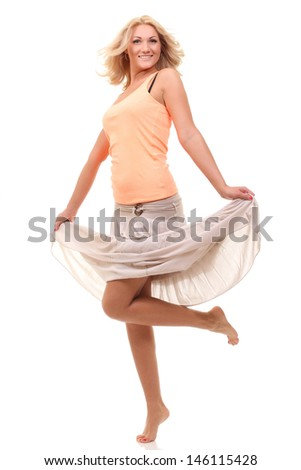 cheerful woman in a long skirt