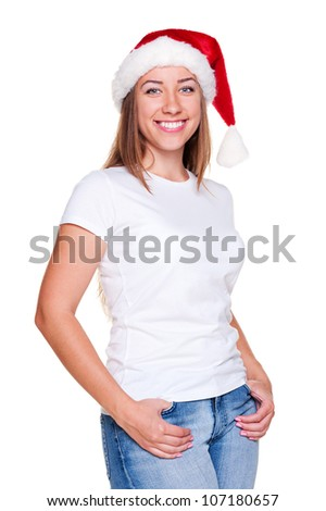 cheerful woman in santa hat posing over white background