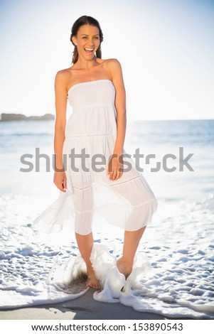 Cheerful woman on the beach with barefoot in the sea on a sunny day