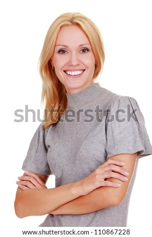 Cheerful woman smiling to you