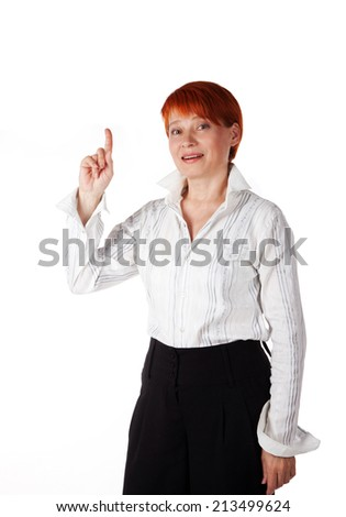 cheerful woman with a good idea on a white background