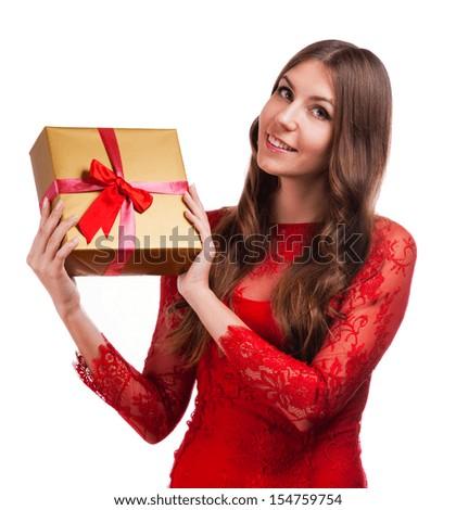Cheerful women with gift box - stock photo