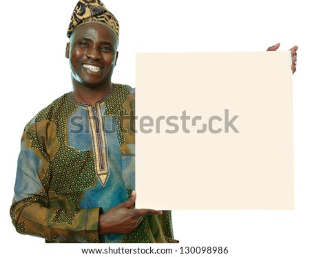 Cheerful young african american man with blank billboard, isolated on white background