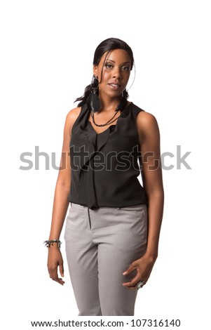 Cheerful Young African American Plus Size  Business Woman standing on White Background Isolated - stock photo