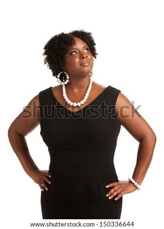 Cheerful Young African American Woman Confident Expression on White Background Isolated - stock photo