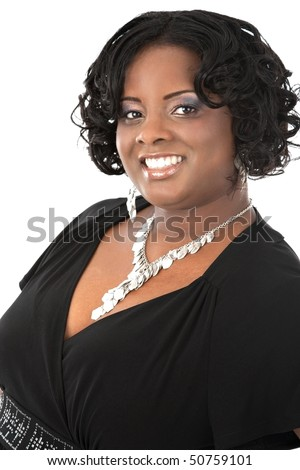 Cheerful Young African American Woman Headshot Portrait on White Background Isolated - stock photo