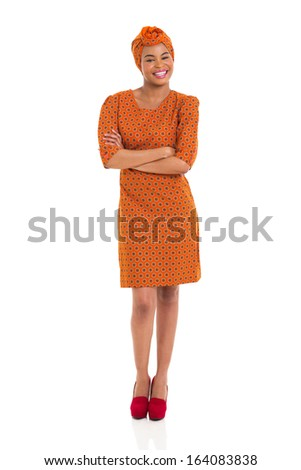 cheerful young african girl with arms crossed isolated on white - stock photo