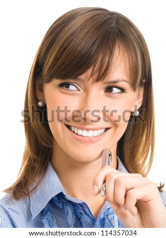 Cheerful young business woman with pen, isolated over white background - stock photo