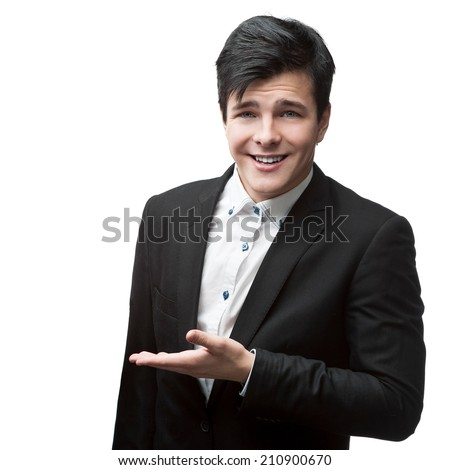 cheerful young businessman standing isolated on white background - stock photo
