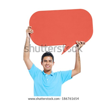 Cheerful Young Casual Man Holding Speech Bubble - stock photo