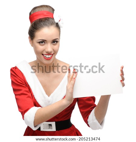 cheerful young caucasian woman in red vintage clothing holding sign isolated on white - stock photo