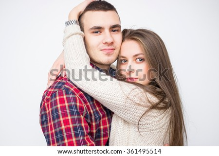 Cheerful young couple. young couple in love - stock photo