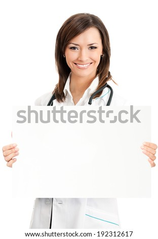 Cheerful young female doctor showing signboard with copyspace for text or design, isolated over white background