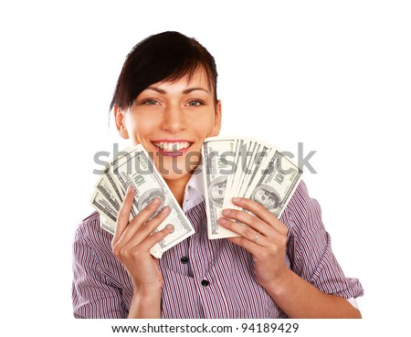 Cheerful young lady showing cash and smiling - stock photo