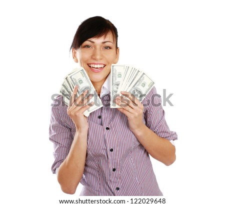 Cheerful young lady showing cash and smiling , isolated on white background