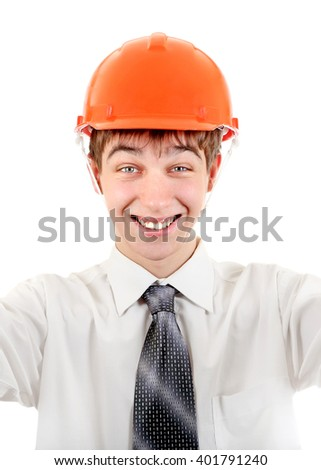 Cheerful Young Man in Hard Hat Isolated on the White Background - stock photo