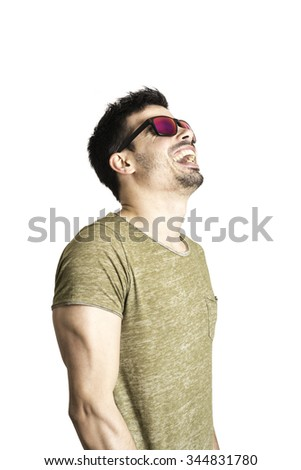 cheerful young man with sunglasses  - stock photo