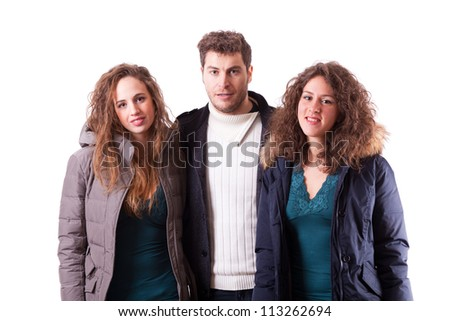 Cheerful Young People on White Background