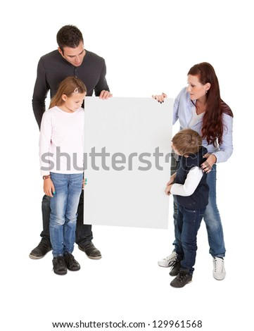 Cheerful young preseting a banner board. Isolated on white - stock photo