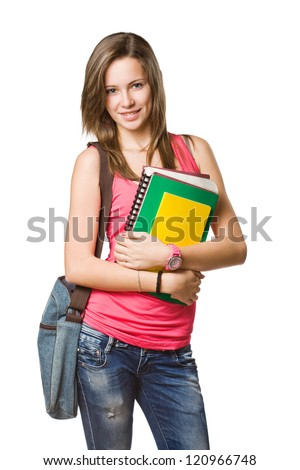 Cheerful young student with exercise books isolated on white background. - stock photo