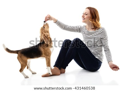 Cheerful young woman giving food to puppy - stock photo