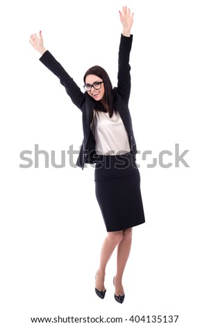 cheerful young woman in business suit isolated on white background