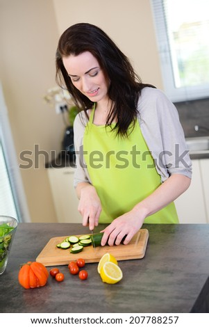 cheerful young woman preparing an organic fresh vegetables salad for lunch in kitchen for summer party