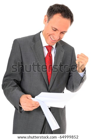 Cheering businessman reading letter. All on white background.