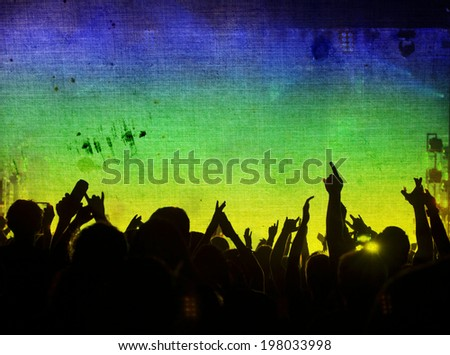 Cheering crowd and the colors of the Brazil flag - vintage photo - stock photo