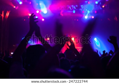 Cheering crowd having fun at a concert. - stock photo