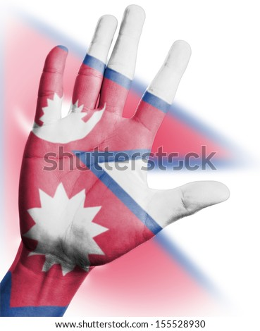 Cheering fan with Painting national Nepal  flag with your hand with your hand for cheer your national sport - stock photo