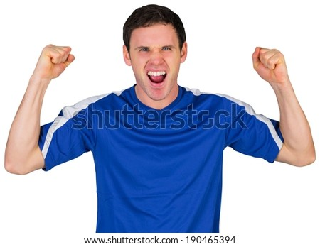 Cheering football fan in blue on white background - stock photo