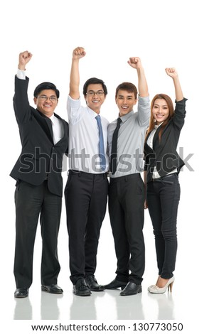 Cheering group of businesspeople isolated against a white background - stock photo