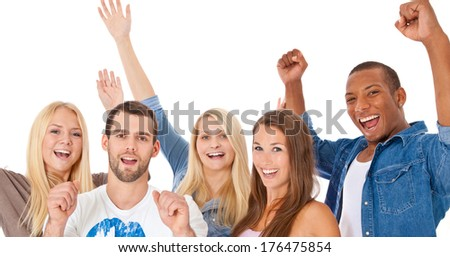 Cheering group of young people. All on white background. - stock photo