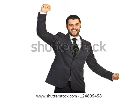 Cheering happy business man isolated on white background