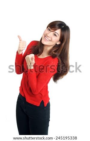 Cheering mixed race Girl thumbs up in red on white background - stock photo