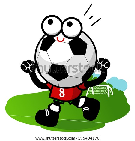 Cheering Soccer ball character. A soccer ball character running and cheering on the football field. Vector version also available in my gallery.  - stock photo