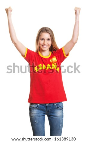 Cheering spanish sports fan - stock photo