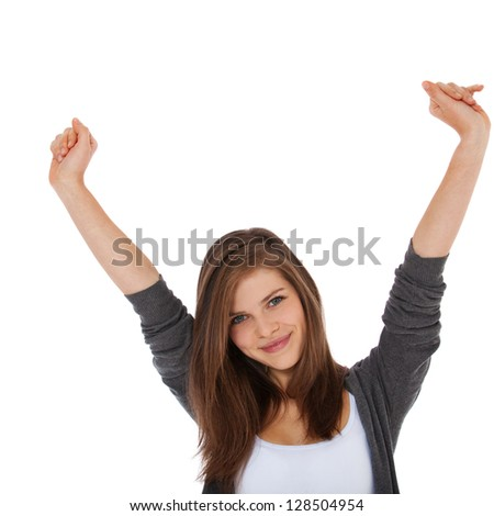 Cheering teenage girl. All on white background.