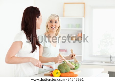 Cheering young Women preparing dinner in a kitchen - stock photo