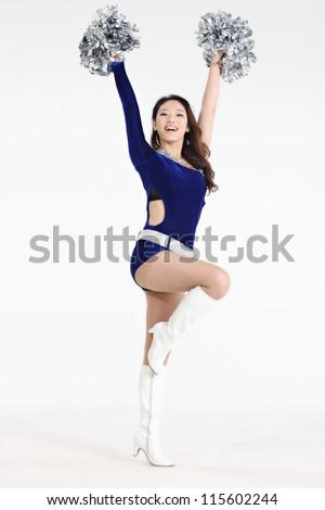 cheerleader isolated on white - stock photo