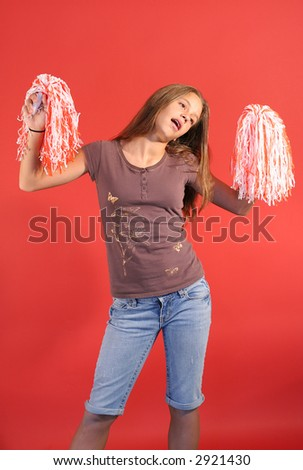 cheerleader vertical side - stock photo