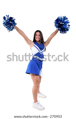 Cheerleader with pompoms wearing uniform over white. - stock photo