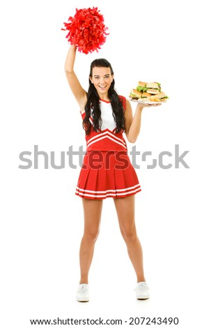 Cheerleader: Woman Cheering And Hungry For Sandwiches - stock photo