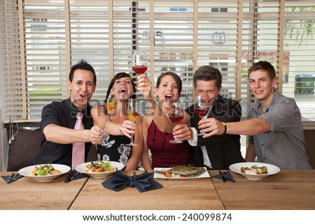 cheers clink glasses - stock photo