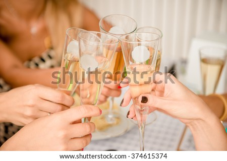 cheers! Close up photo of women clinking  glasses - stock photo