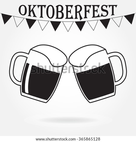 Cheers icon or sign. Two glasses or beer mugs on white background. Octoberfest beer symbol.  - stock photo