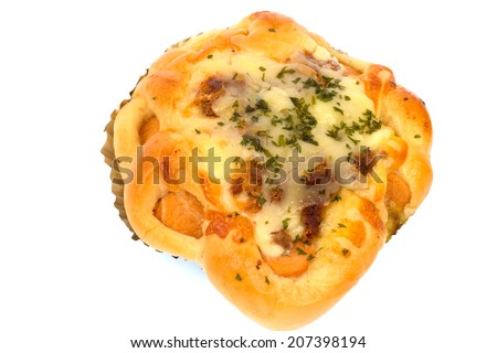 cheese and bacon bread isolated on white background.  - stock photo