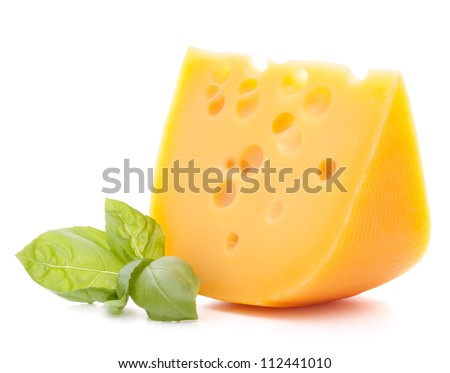 Cheese and basil leaves isolated on white background cutout - stock photo