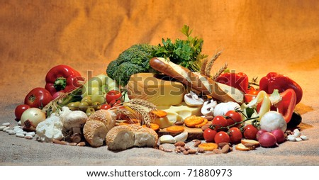 cheese and fresh vegetables - stock photo
